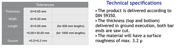 Ground Flat Stock - technical specifications